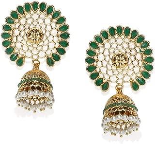 Zaveri Pearls Ethnic Jhumki Earrings for Women (Golden) (ZPFK7398)