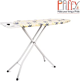 PAffy Metal Ironing Board Foldable with Grilled Iron Holder, White