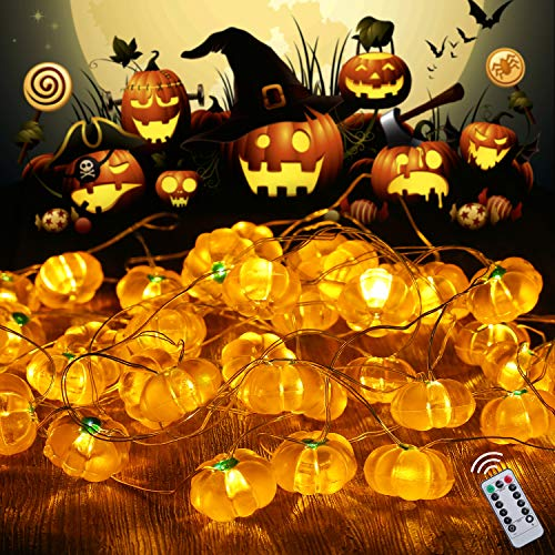 SAMYERLEN 3D Pumpkin Decorative String Lights, 13ft 40 LEDs Battery Operated with 8-Modes, Remote&Timer for Thanksgiving Halloween Christmas Autumn Indoor Outdoor Parties Home Decoration (Pumpkin)