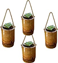 RAREPRODUCTS Bamboo Rope Planter Set of 4 Pot with NailScrew Free -4 nos