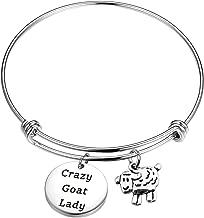KUIYAI Crazy Goat Lady Bracelet Keychain with Goat Charm Farm Farmer Keyring Jewelry Funny Goats Lovers Gift