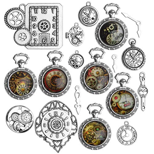 PACK OF 18 PCS: You will receive 18pcs steampunk clock charms of 18 mixed styles in antique silver. Enough quantity and various styles can fully meet your needs. STURDY MATERIAL: All these clock theme charms are made of quality metal alloy, durable a...