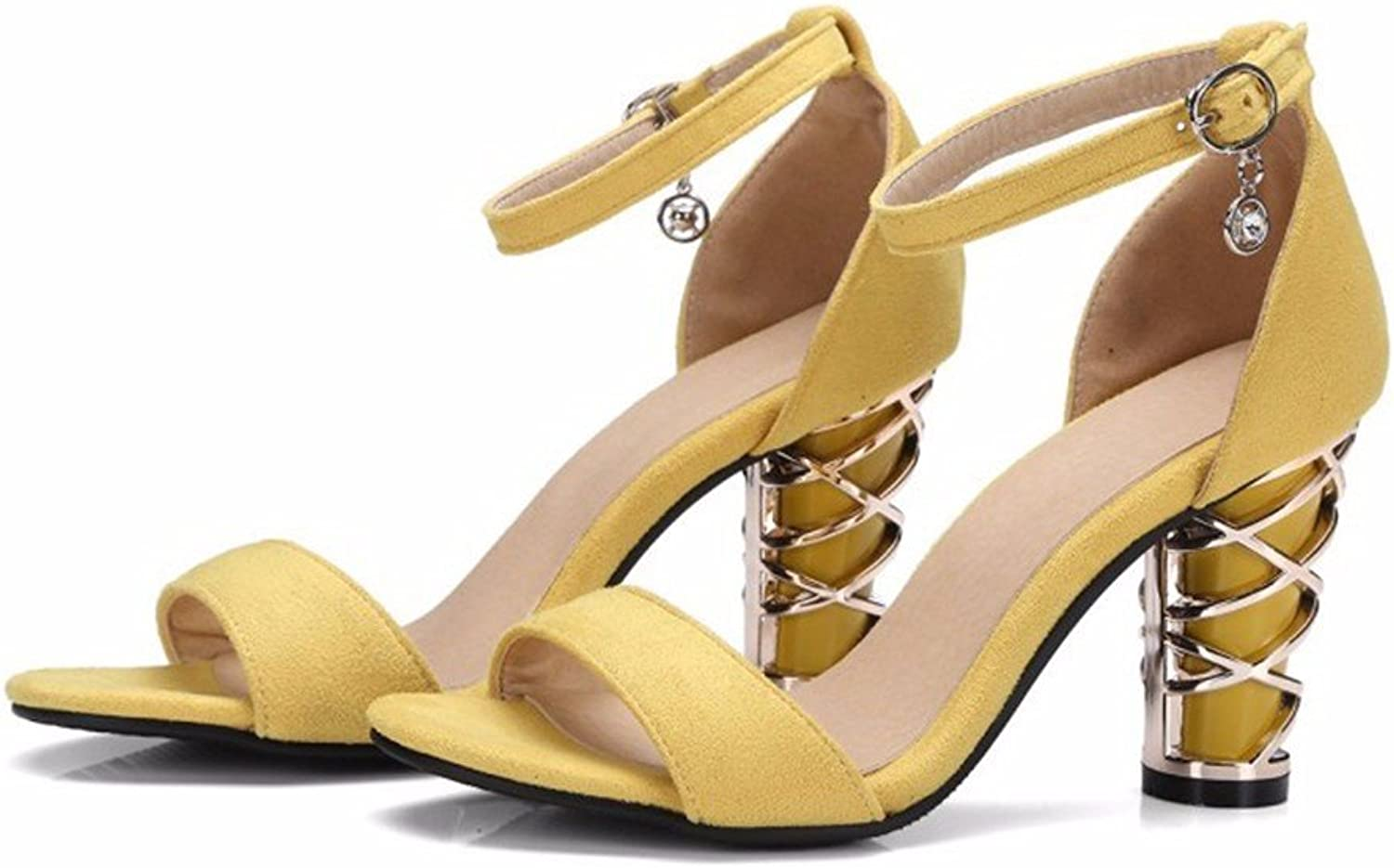 Summer sandals pu high heels thick with slotted low dew-Toe Ladies Sandals-YU&XIN