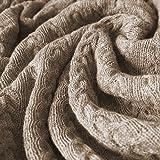 Lorenzo Cana Voluminöse Alpakadecke aus 100prozent Alpaka - Wolle vom Baby Alpaka Fair Trade Decke Wohndecke gestrickt Sofadecke Tagesdecke Kuscheldecke Beige Hellbraun - 96188
