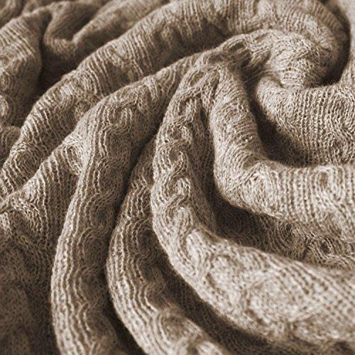 Lorenzo Cana Voluminöse Luxus Alpakadecke aus 100prozent Alpaka - Wolle vom Baby Alpaka Fair Trade Decke Wohndecke gestrickt Sofadecke Tagesdecke Kuscheldecke Beige Hellbraun - 96188