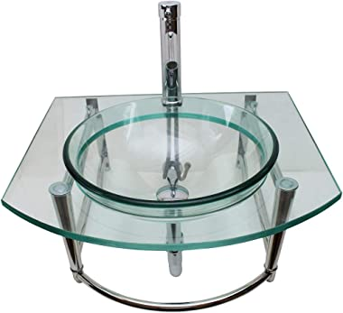 Renovators Supply Haiku Glass Wall Mount Console Sink Round Bowl Wall Hung Bathroom Vessel Sink 23 3/4 Inches Clear Tempered