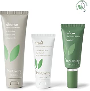 bioClarity 3-Step Clear Skin Routine (Full Size) for Oily or Acne-Prone Skin | 100% Clean, Vegan Ingredients