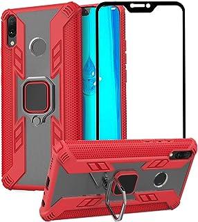 1stfeel Funda para Huawei Y9 2019 con Soporte de Anillo + Cristal Templado,Funda de Silicona Soft Slim Fit + PC Transparente Espalda Carcasas con Soporte Móvil Coche Magnético,Rojo