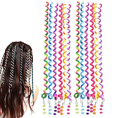 Herramienta Colorida para El Cabello en Espiral Conjunto de Accesorios para El Cabello para Niñas Accesorios de Estilo de Cabello Encantador, para Fiestas de Cumpleaños de Niñas 12 Piezas