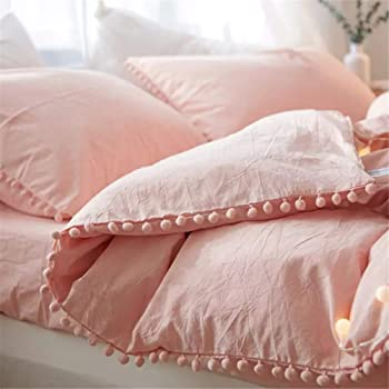 Duvet Cover Queen,100% Washed Microfiber 3pcs Bedding Duvet Cover Set, Pom Poms Fringe Solid Color Soft and Breathable with Zipper Closure & Corner Ties - Pink
