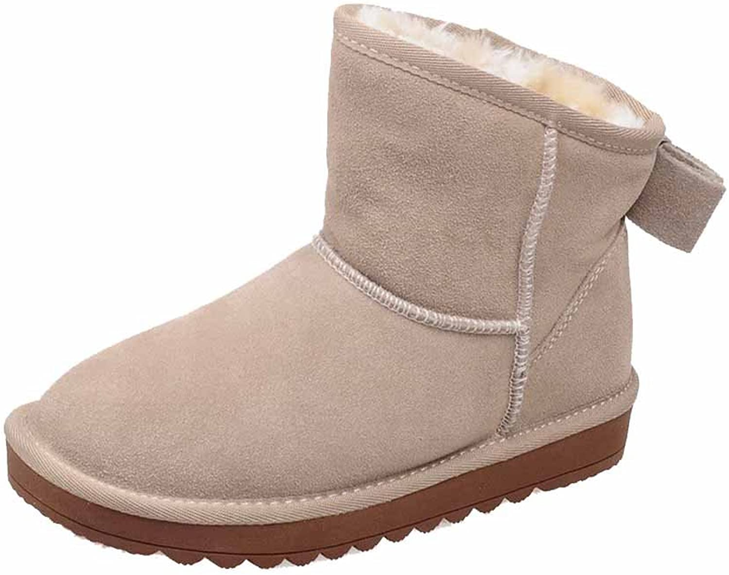 WeiPoot Women's Frosted Pull-on Round Closed Toe Low-Heels Low-top Snow-Boots