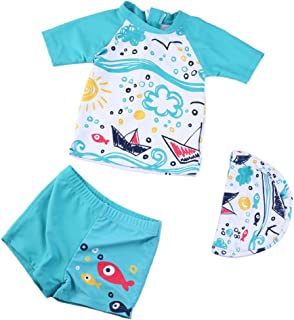 Collager Toddler Baby Boys Two Piece Cute Short Sleeve Sunsuits Zipper Rash Guard Sun Protection with Swimming Hat
