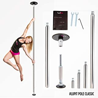 Dance Pole for Home by LUPIT POLE – Classic Model – Stainless Steel, 45mm (1.77in) – Spinning and Static Mode – Studio Portable and Removable Fitness Dancing Pole