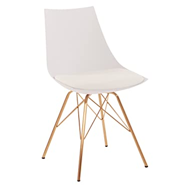 OSP Home Furnishings Oakley Mid-Century Modern Bucket Chair, White