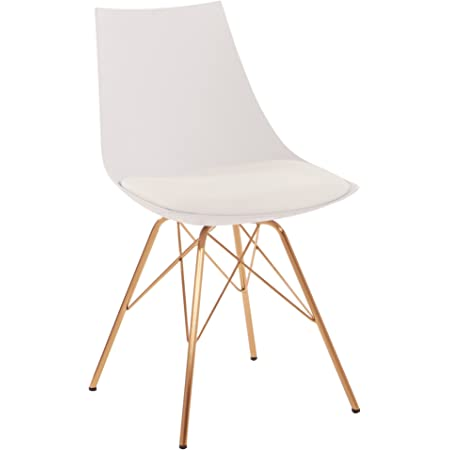 OSP Home Furnishings Oakley Mid-Century Modern Bucket Chair, White