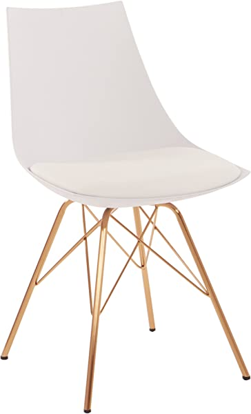 AVE SIX Oakley Faux Leather Task Chair With Gold Chrome Base White