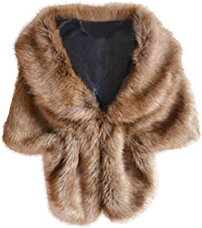 Hemlock Wrap Shrug Scarfs, Women's Winter Warm Wrap Shawl Elegant Bridal Wedding Faux Fur Scarfs (Coffee)