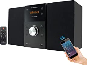 LONPOO Micro Shelf Speaker Hi-Fi Sound System CD Player 30W RMS Compact Stereo Amplifier with Remote Control, Bluetooth, FM Radio, USB MP3 Playback & Aux-in,Black