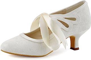 Elegantpark HC1521 Escarpins Femme Dentelle Ruban Mary Janes Bout Rond Chaussures de Mariee Mariage Bal