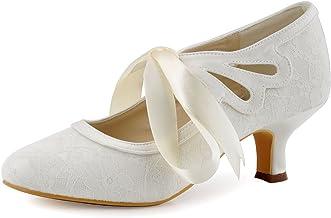 ElegantPark HC1521 Zapatos para Novia Tacon Bajo Mary Jane Zapatos Mujer Cintas Encaje Satén Zapatos de Fiesta Boda