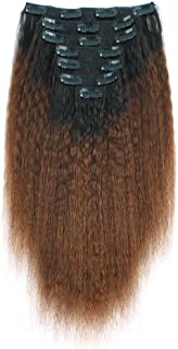 ABH AmazingBeauty Hair Kinkys Straight Ombre Clip-in Hair Extensions Double Weft Remy Human Hair for Black Women, Natural Black Fading into Chocolate Brown, 7 Pieces, 115 Grams, KS TN-4, 12 Inch