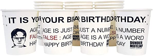 It is Your Birthday Cups The Office Birthday Decoration Party Supplies Dwight Schrute Dunder Mifflin Design Cups (10 Ounce 16 Counts)
