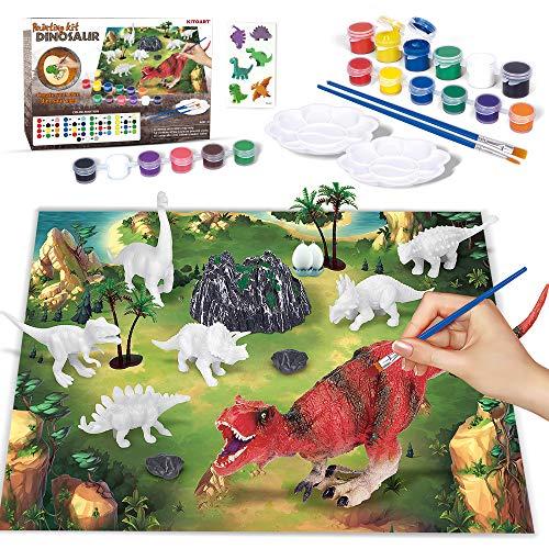 KITOART New Enlarged Dinosaur Painting Kit for Kids, Dinosaur Arts and Crafts for Kids, Dinosaurs Toys for Kit Boys & Girls, DIY Dinosaur Painting ToysforAge34 5 6 7 8 (47 Pcs)