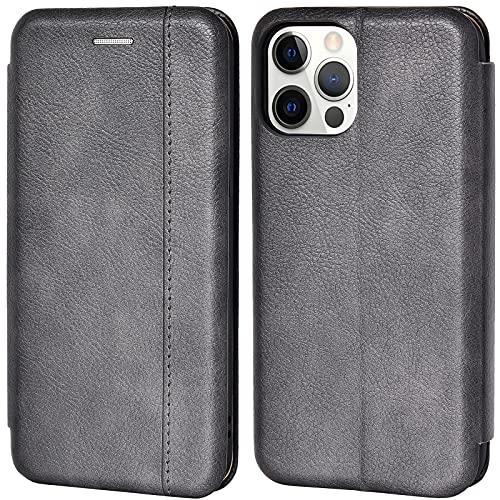 Leaum Handyhülle für iPhone 12 Pro Hülle Leder, iPhone 12 Tasche mit [Kartenfach] [Magnet] [Stand] Stoßfeste Klapphülle Schutzhülle für iPhone 12/12 Pro - Dunkelgrau