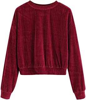 DHGCX Womens Drop Shoulder Tops Solid Vintage Ribbed Corduroy Sweatshirt Long Sleeve Blouse Tops