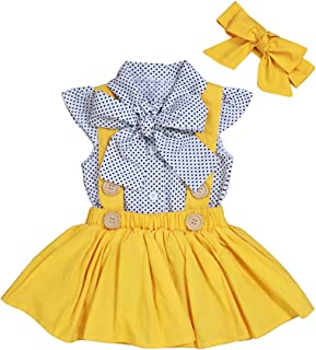 Toddler Baby Girl Clothes Ruffles Short Sleeve Bowknot Shirt+Overall Skirt with Headbands 3Pcs Outfits Set School Uniform