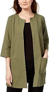 Eileen Fisher Womens Solid Round Neck Jacket