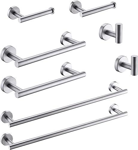 """2021 GIMILI 2 Pack outlet online sale 4 Piece Bathroom Hardware popular Set SUS304 Include 23.6"""" Towel Bar,12"""" Towel Bar,Toilet Paper Holder,Towel Hooks ,Bathroom Hardware Accessories Set Brushed Nickel outlet online sale"""