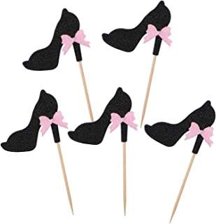 JETEHO 30Pcs Cupcake Toppers Black High-Heeled Shoes, with Bow-Knot Cake Fruit Picks Decorative Baby Shower Party Wedding Decors Baby's Birthday Cake Supplies