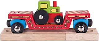 Bigjigs Rail Tractor Low Loader - Other Major Wooden Rail Brands are Compatible