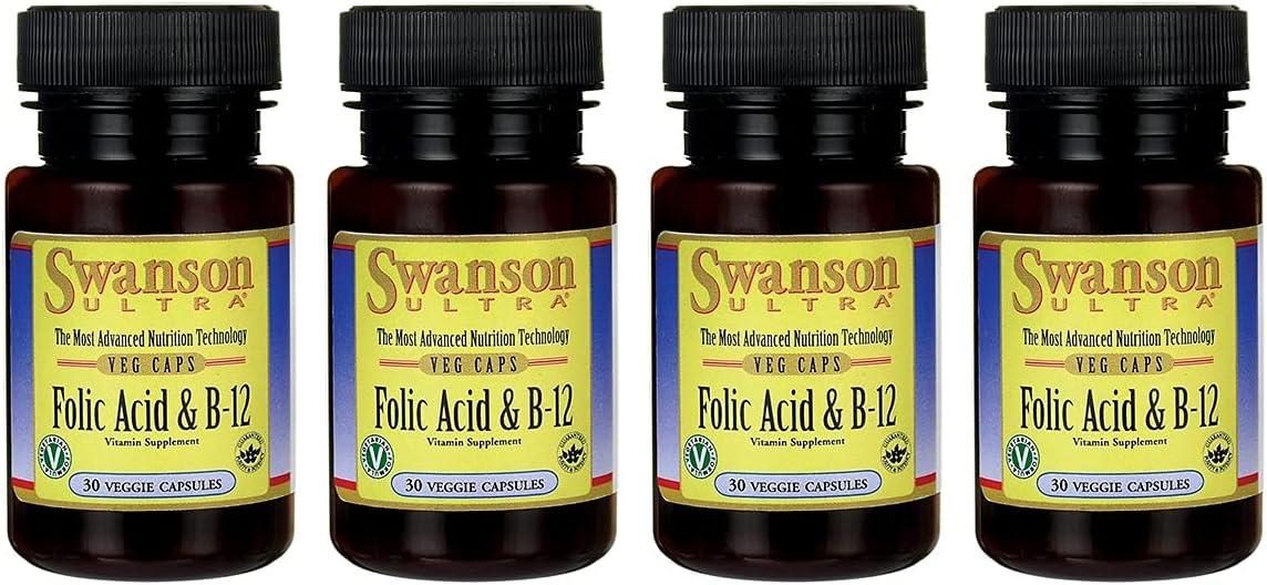 Swanson Folic Challenge the lowest price 2021 model Acid Vitamin B-12 Veg Pack Capsules 4 30