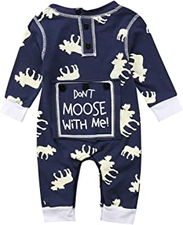 MSDMSASD Newborn Infant Baby Boys Girls Romper Long Sleeve Moose Letter Print Jumpsuit Pajamas Xmas Outfits