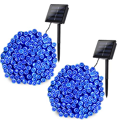 Joomer 2 Pack Solar String Lights 72ft 200 LED 8 Modes Solar Powered Christmas Lights Waterproof Decorative Fairy String Lights for Garden Patio Home Wedding Party Christmas(Blue)