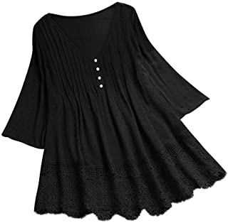 Women V-Neck T-shirt Dresses, Ladies Solid Vintage Ruffled Plus Size Long Sleeve Shirts Blouse Tops