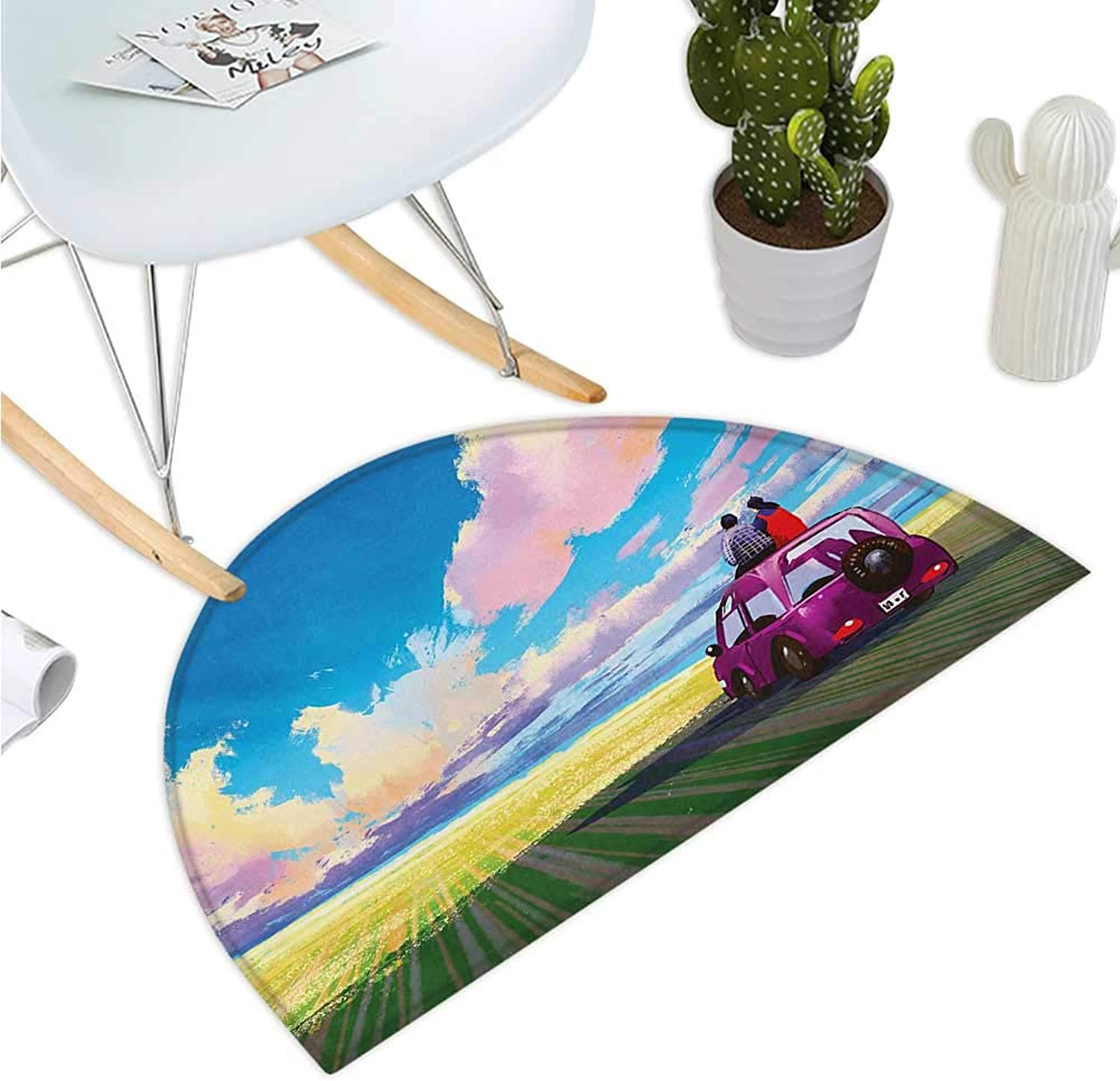 Country Semicircular Cushion Young Couple Sitting on Car in Front of Dramatic Landscape Farmhouse Soul Mates Print Halfmoon doormats H 35.4  xD 53.1  Multi