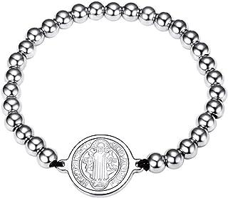 2872cac1e25b FaithHeart Pulsera Milagrosa de Acero Inoxidable para Hombre y Mujer Joyería  Religiosa con Medalla   Crucifijo