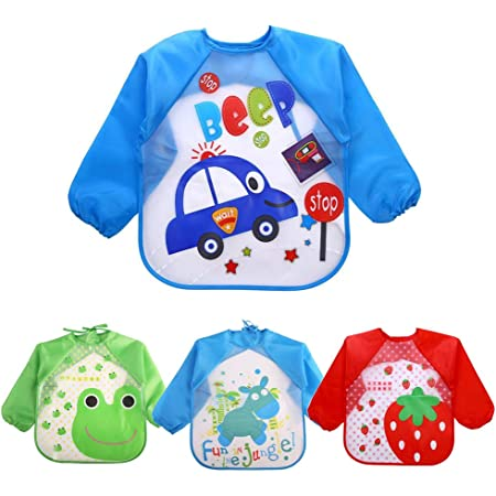 Toddler Bib Waterproof Painting Apron Comfortable Lightweight Art Smock Stain and Odor Resistant Eating Bibs Sleeved Paint Smocks for Kids Child Pink 3-4T
