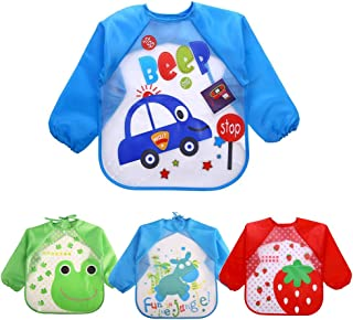 EchoDone 4 Packs Waterproof Children's Art Smock Kids Painting Aprons Long Sleeve Baby Smock for Eating 1-4 Years
