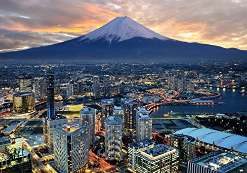 wandmotiv24 Fototapete Japan Skyline Yokohama XL 350 x 245 cm - 7 Teile Fototapeten, Wandbild, Motivtapeten, Vlies-Tapeten Stadt, City, Ausblick M0509