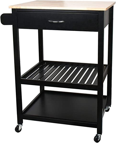 JW Home Multi Purpose Cabinet Rolling Kitchen Island Table Cart With Wheels Black
