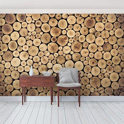 Apalis Tapete Holzoptik - Vliestapete - Homey Firewood - Holz Fototapete Breit | Vlies Tapete Wandtapete Wandbild Foto 3D Fototapete für Schlafzimmer Wohnzimmer Küche | Größe HxB:225x336cm