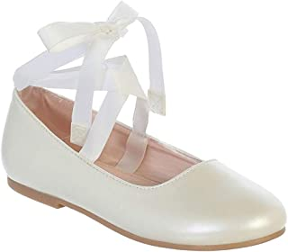 8f30571a0 iGirldress Girls Ribbon Ankle Tie Matte Mary Jane Ballerina Flats Shoes 9  Toddler-4 Kids