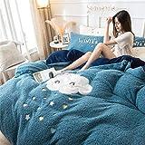 BGSFF Funda de edredón de 4 piezas, imitación de terciopelo cordero, terciopelo coral, doble cara, acolchado de cama, sábanas de invierno de terciopelo Fale *2 (F 15,200 x 230 cm)