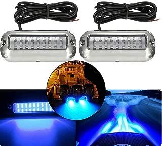 G·PEH Stainless Steel 27 LEDs Blue Underwater Pontoon Marine Boat Transom Lights, Pack of 2