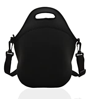 Neoprene Lunch Bags Boxes for Women Men Kids, Insulated Lunch Cooler Tote Bag Box for School Office Work Picnic Travel (Black)