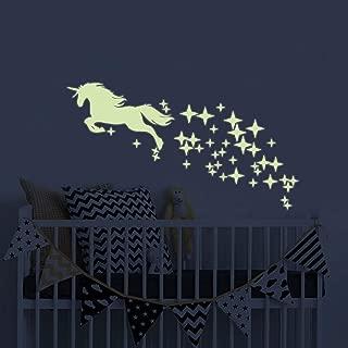 Unicorn Vinyl Wall Decals Glow in The Dark Stars DIY Kids Girls Bedroom Home Nursery Room Wall Mural Decor